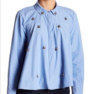 Kenzie Embellished Swing Button Down NWT
